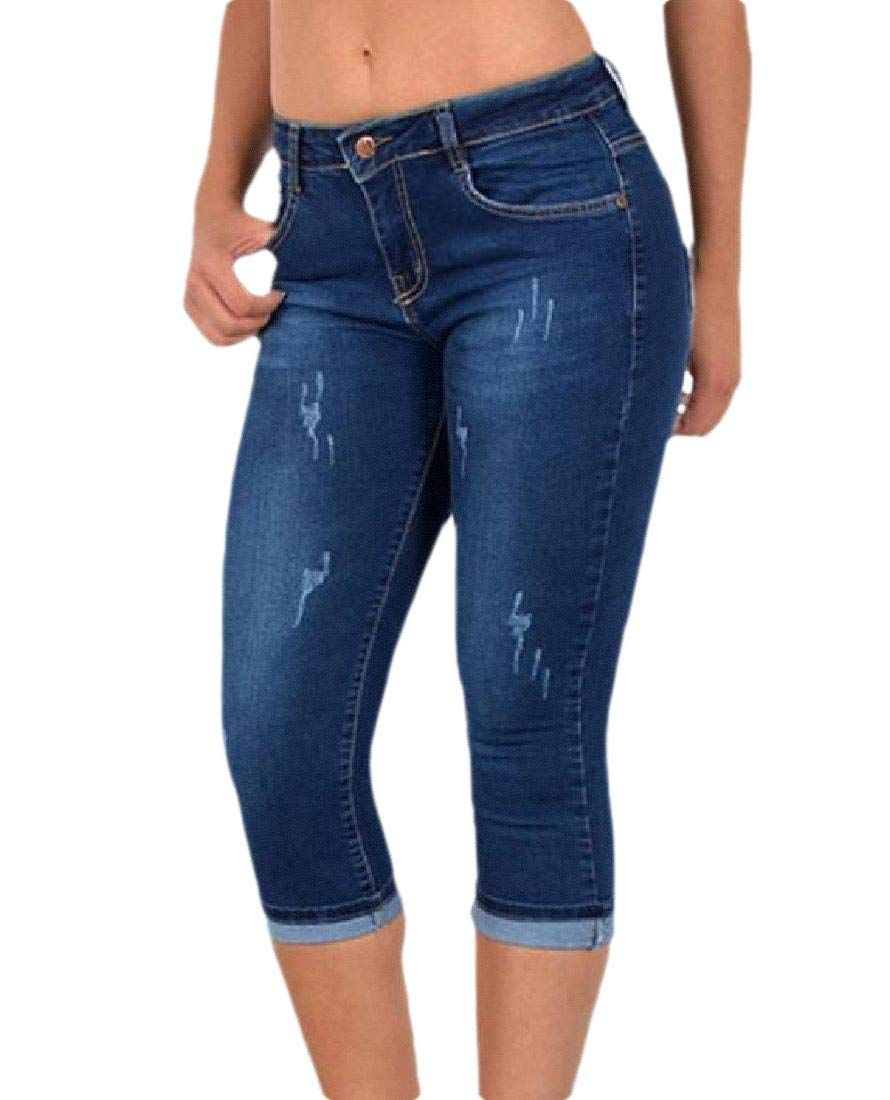 Lingswallow Womens Leisure Ripped Hole High Waisted Stretch Cuffed Jeans Blue Denim Pants