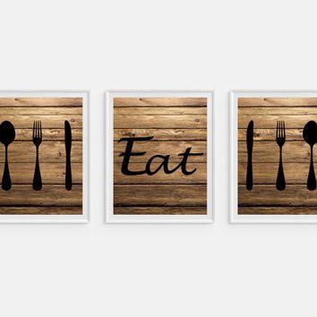 Set 3 Prints, Rustic Kitchen Art Print \u0027Eat\u0027, Instant download, Faux