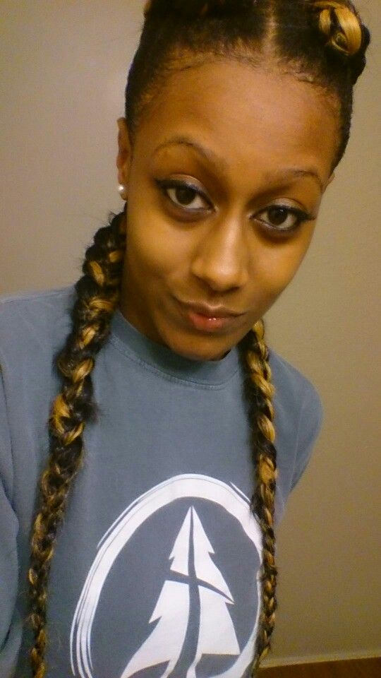 Two Cornrows Pig Trails Blonde Brown Weave Kanekalon Two Cornrows Protective Hairstyles Cornrows