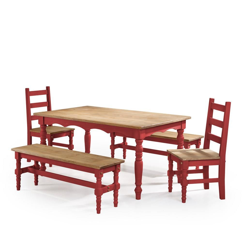 Manhattan Comfort Jay 5 Piece Red Wash Solid Wood Dining Set With