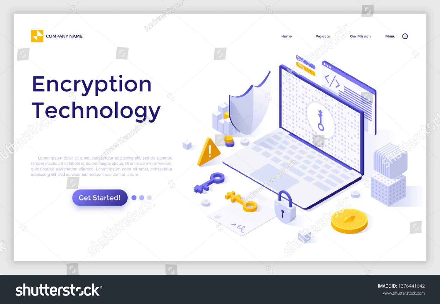 Landing page with laptop computer, cryptographic protocol, shield