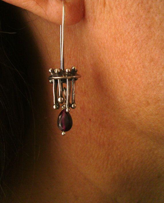 Earrings  Sterling Silver  Garnet
