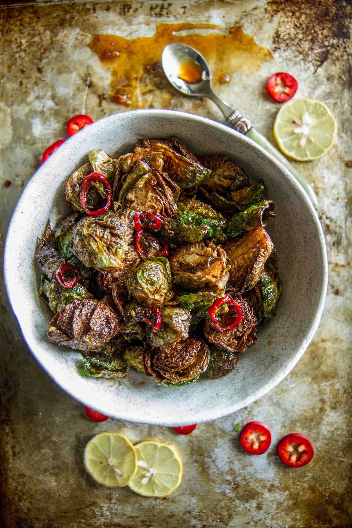 Crispy Fried Brussels Sprouts With Honey Sriracha Glaze