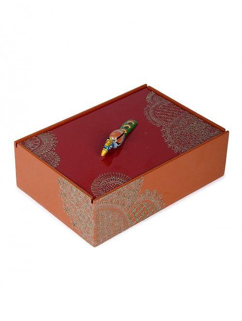 Red-Orange Box with Hand-painted Mehendi Artwork