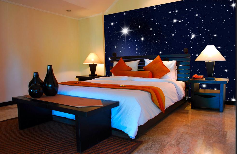 Sternenhimmel-schlafzimmer-Schlafzimmer-mit-einem-Wandgestaltung ...