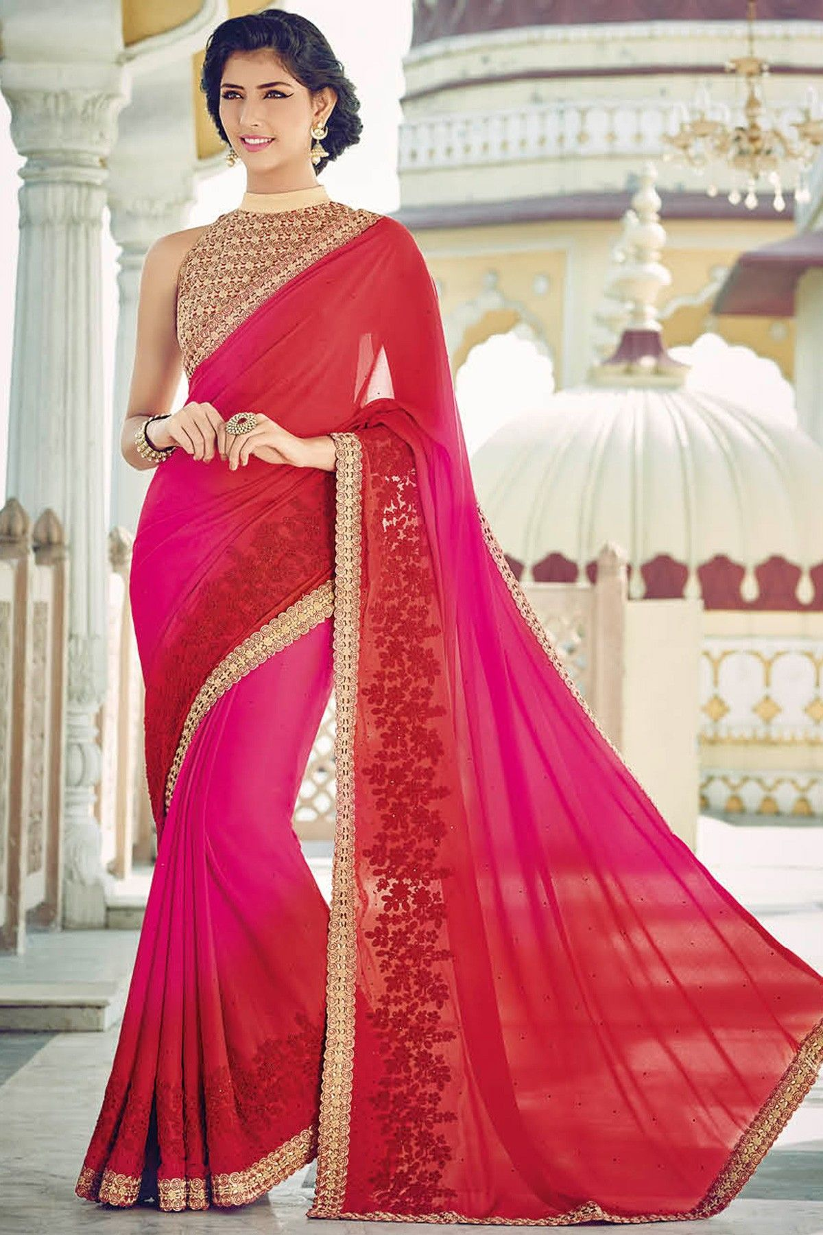 Buy Red & Pink Pleasing Georgette Saree With Gold Border