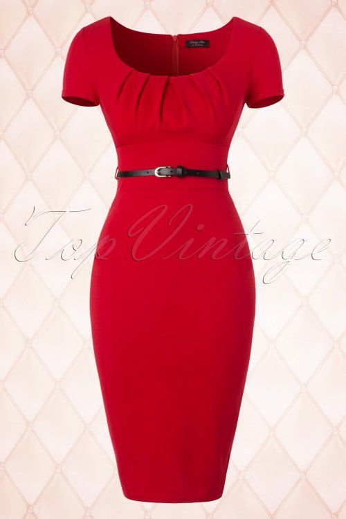 Vintage Chic for TopVintage 50s Marcella Pencil Dress in Red
