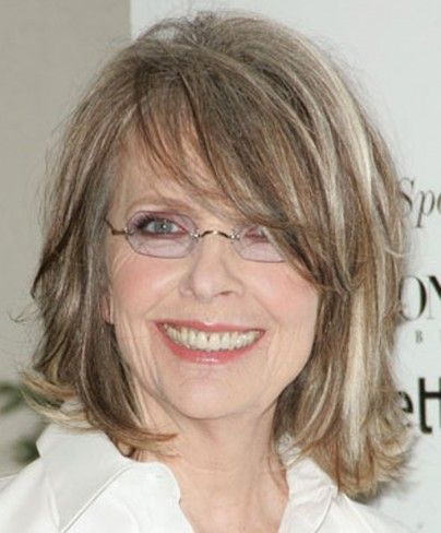 Medium Hairstyles With Bangs And Glasses For Women Over 50