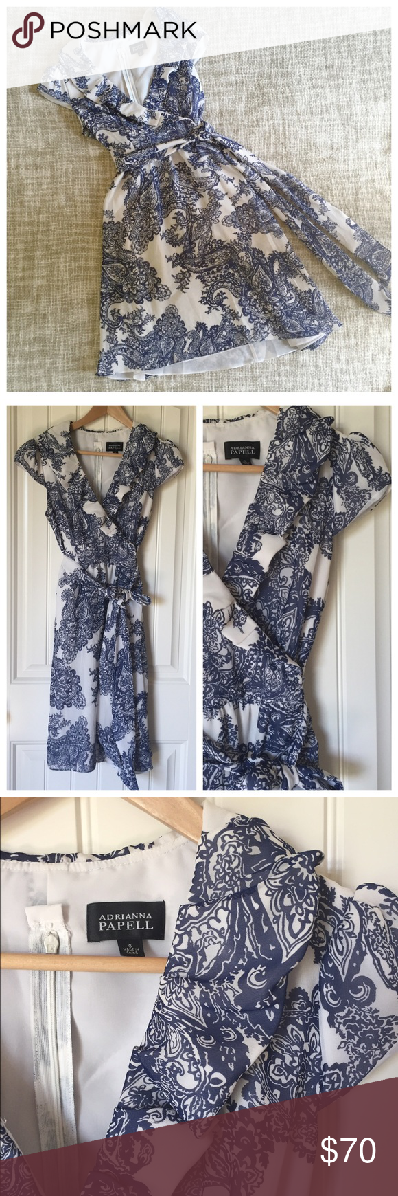 Adrianna Papell Paisley Ruffled Faux Wrap Dress   Faux ...