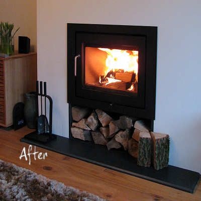 Contemporary inset log burner home pinterest inset for Modern wood burning insert