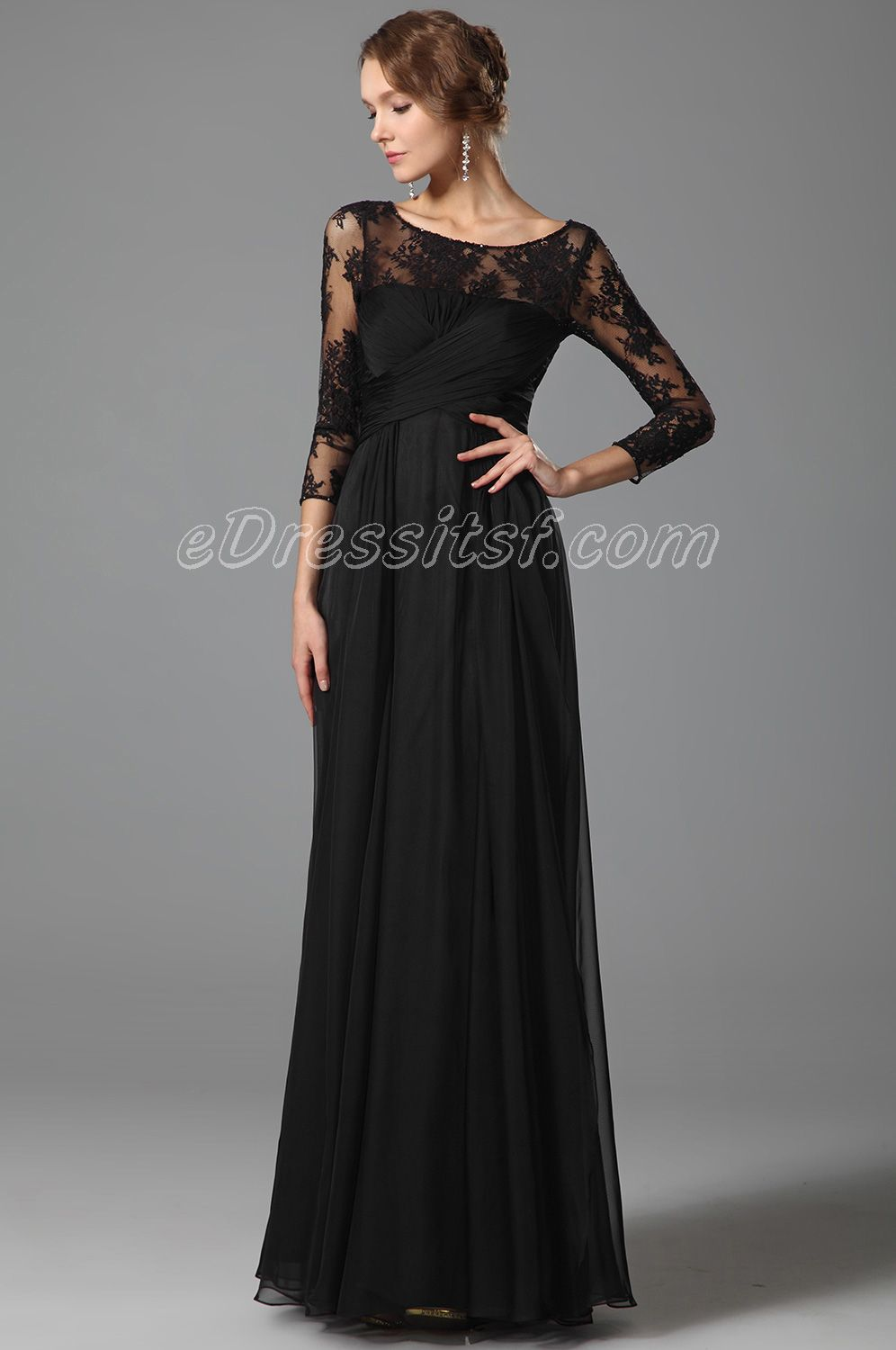 Lace Sleeves Empire Waist Black Evening Dress | My Style Pinboard ...