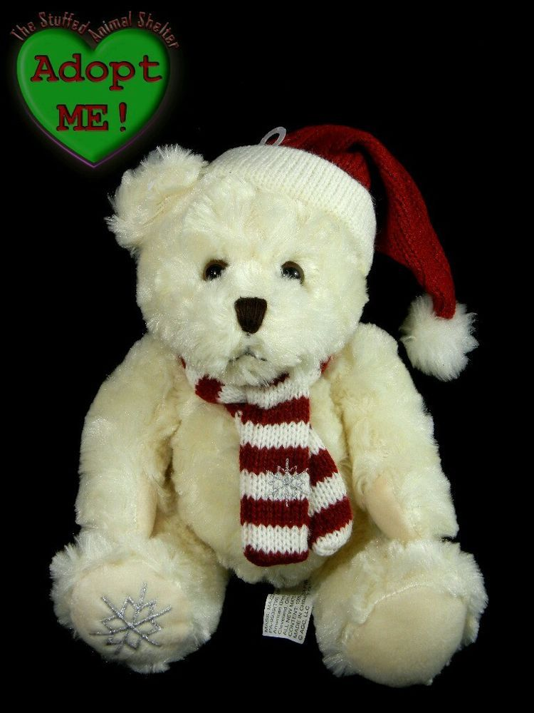 American greetings stuffed plush white christmas teddy bear with hat american greetings stuffed plush white christmas teddy bear with hat scarf 9in m4hsunfo