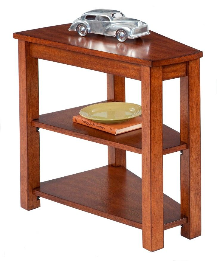 Furniture Unique Wedge Shaped End Table With Shelves Decorated Mini Car Toy Creating New Interior Design Easily Tables