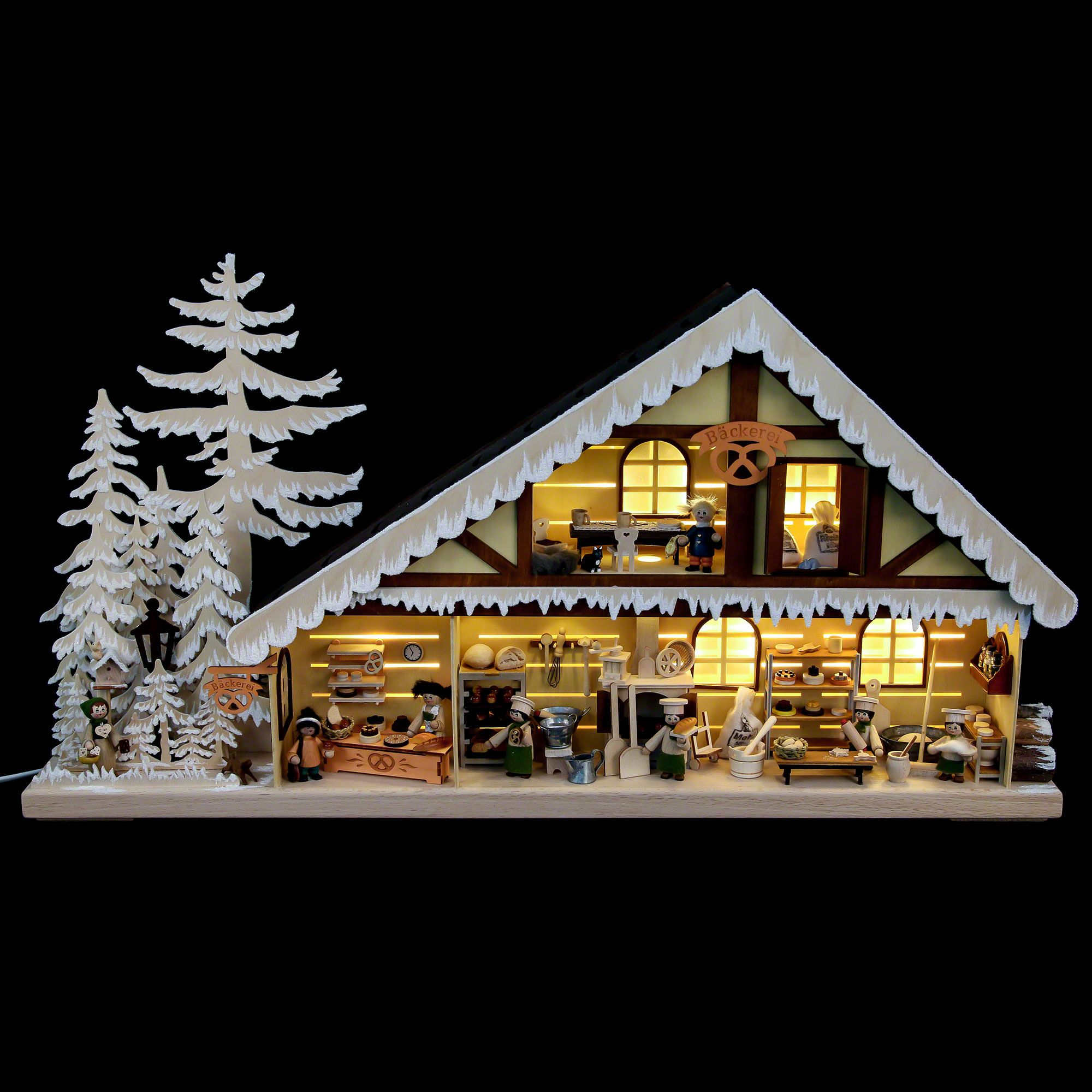 Lighted House Bakery with White Frost 70x38 cm / 28x15