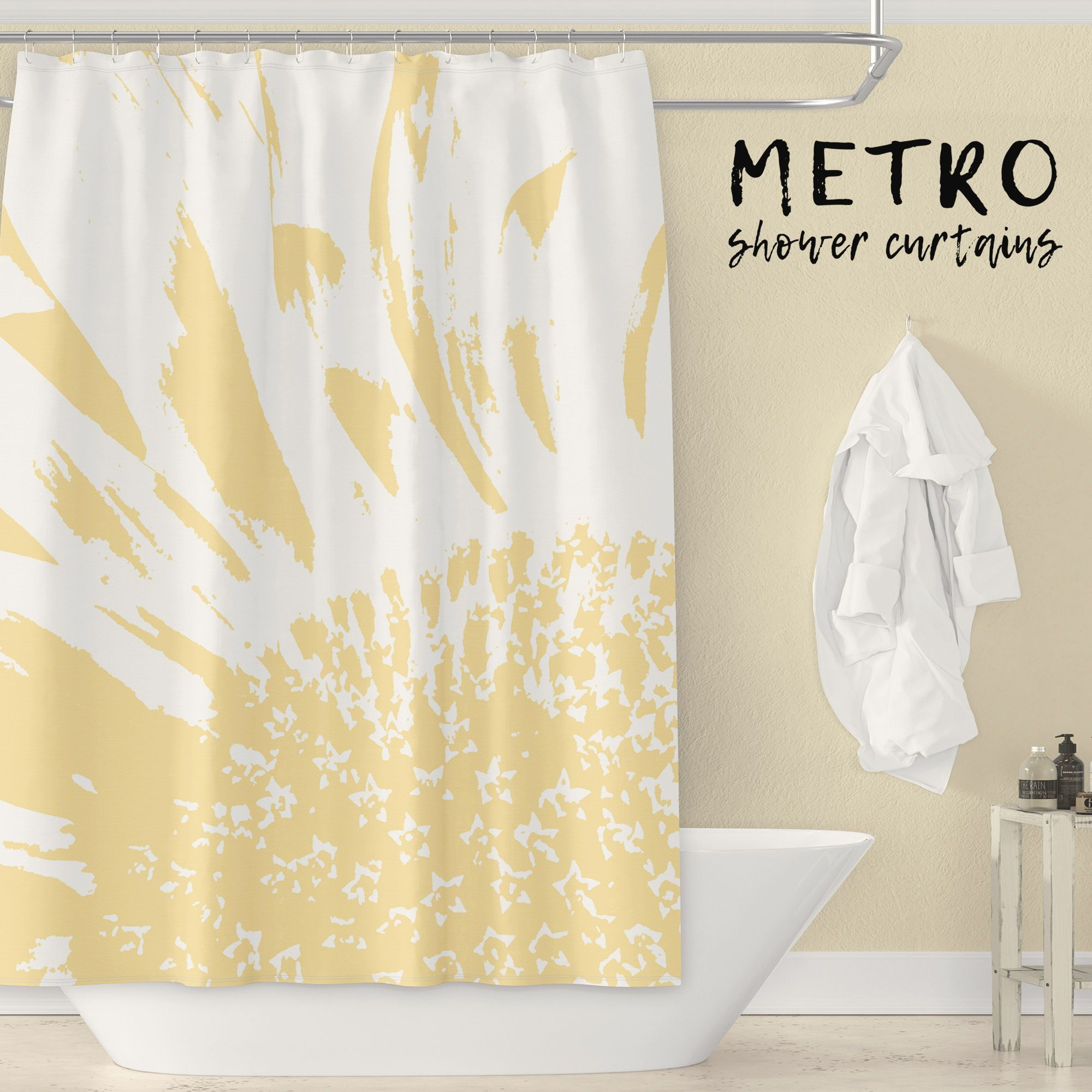 Sunflower Shower Curtain Pale Yellow White Monochrome Large