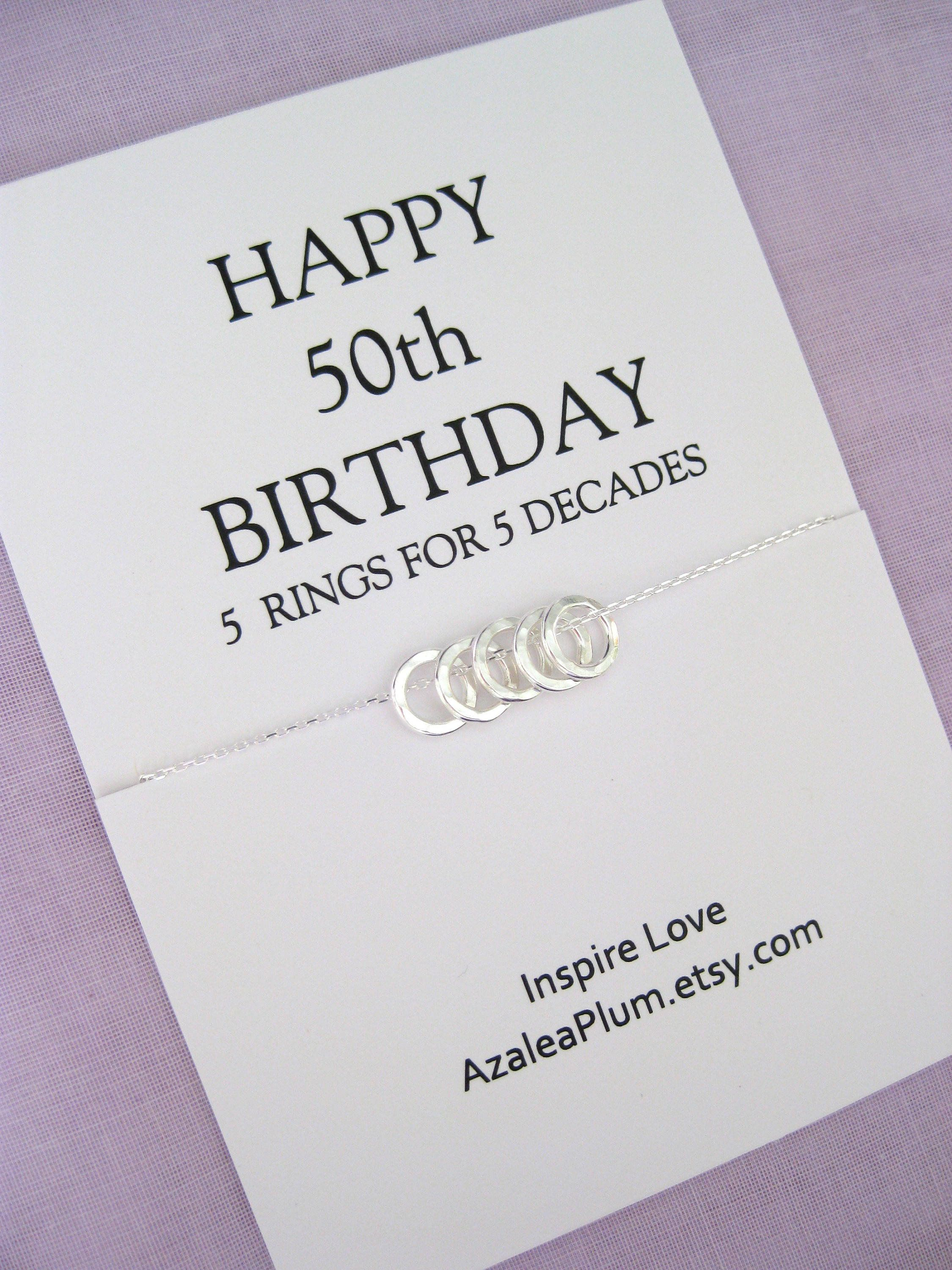 50th birthday gift for women solid sterling silver