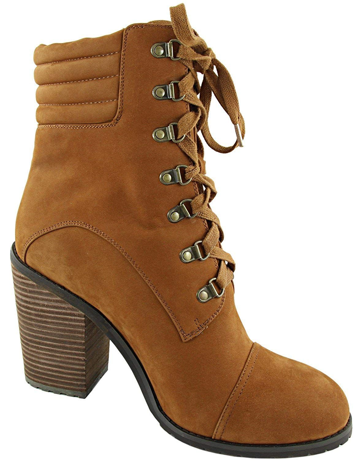 Genuine Leather High Heel Lace up