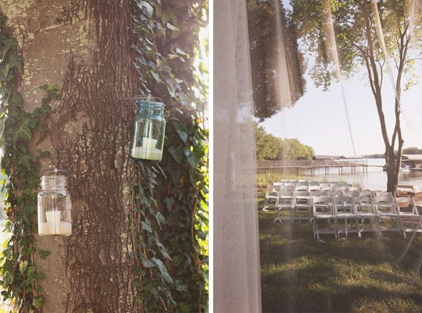 hang mason jar lanterns on trees, on steps leading up to club, along club porch, etc.