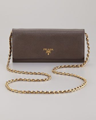 18fa64ce3e18 Saffiano Metal Oro Chain Wallet by Prada | Arm Candy | Wallet chain ...