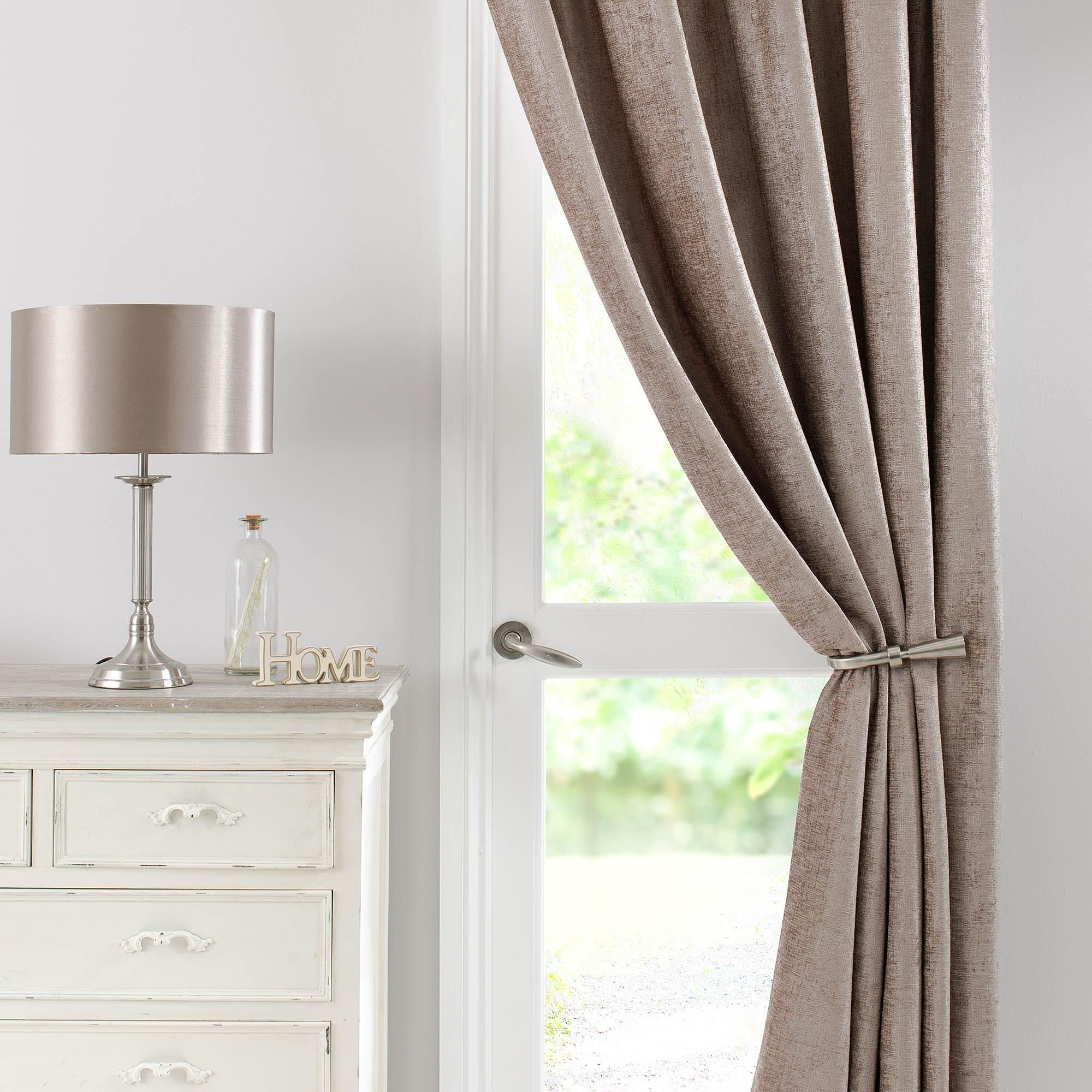 Chenille Taupe Thermal Pencil Pleat Door Curtain Curtains Door Curtains Curtains Dunelm
