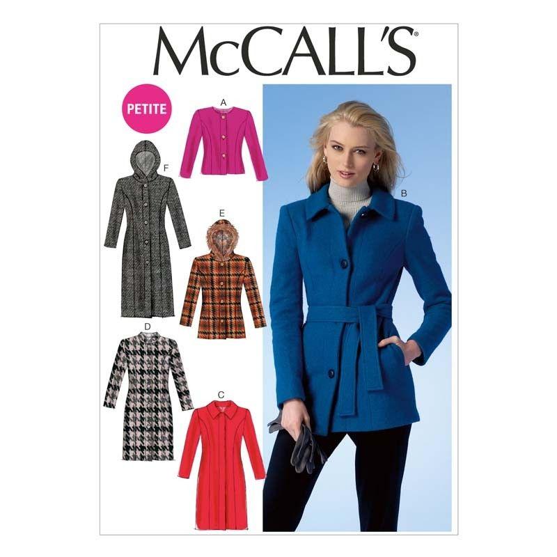 McCalls Sewing Pattern Misses-Petite Coats  6-14