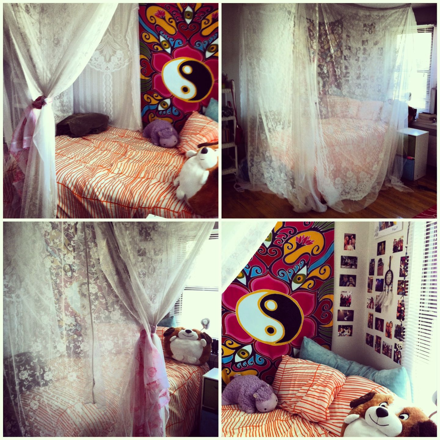 Create A Beautiful Diy Bed Canopy Using Curtains And Ceiling Hooks