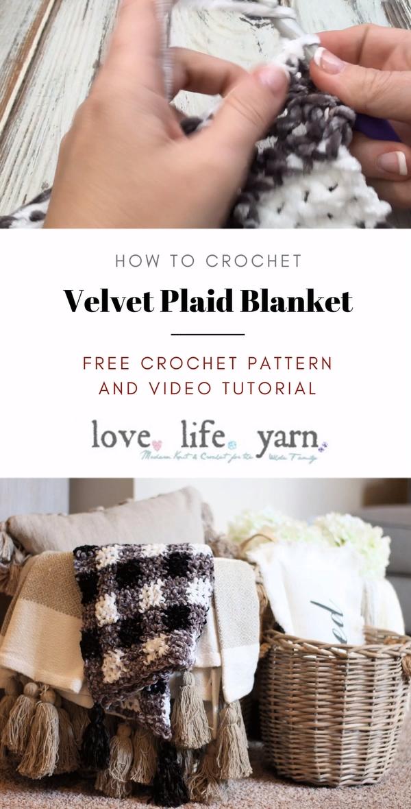 Photo of Velvet Plaid Blanket – Kostenlose Häkelanleitung in 3 Größen