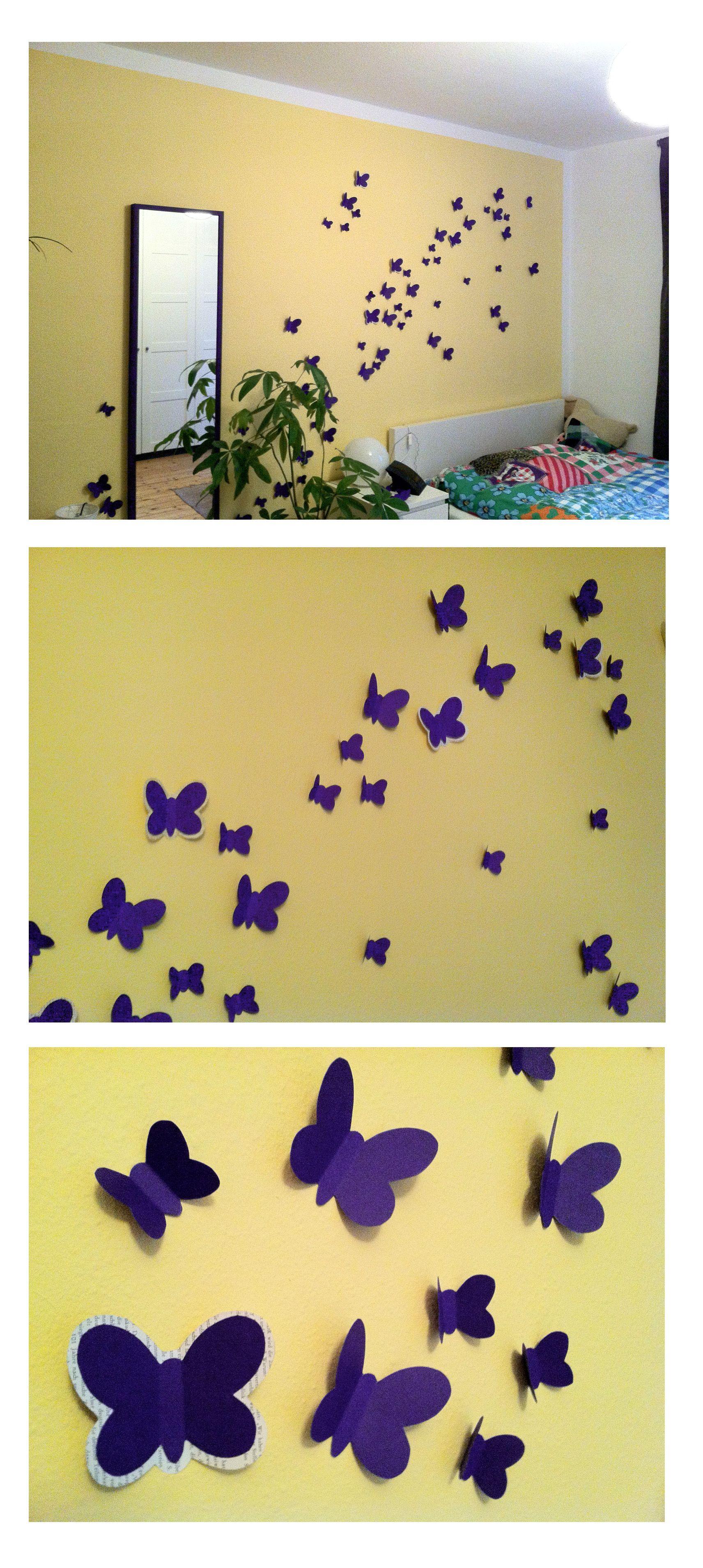 DIY Purple 3D Butterflys in my Bedroom | Butterflys | Pinterest ...
