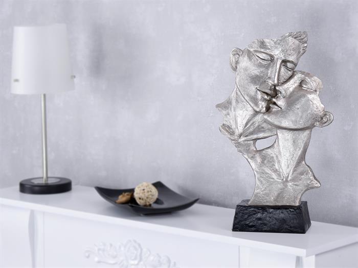 Paar küssend Liebe Leidenschaft silber Gesichter Dekofigur - wohnzimmer deko figuren