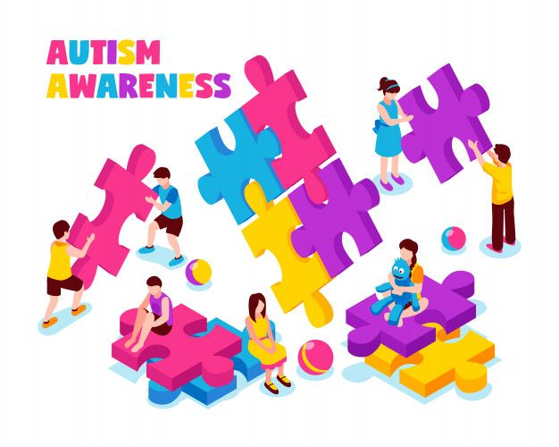 Autism awareness composition kids with c  Free Vector