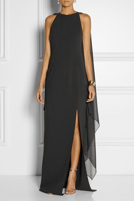 Michael Kors Stretch-wool and silk-georgette gown   vestidos para ...