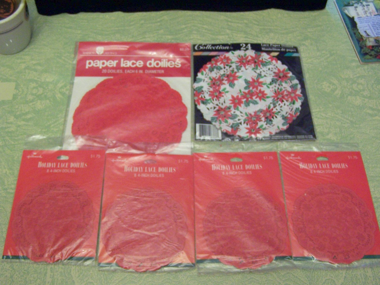 American greetings hallmark christmas holiday red lace paper doilies american greetings hallmark christmas holiday red lace paper doilies original packages poinsettias by biggdesigns on etsy kristyandbryce Choice Image