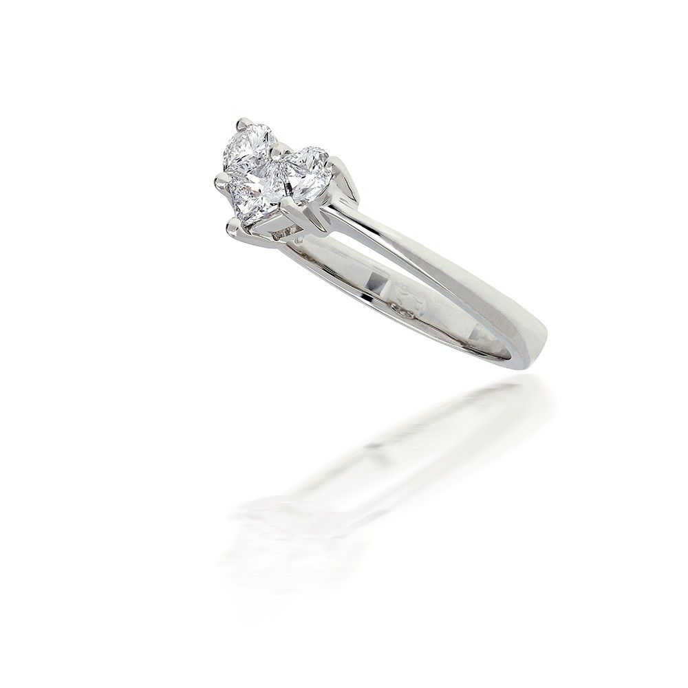 Illusion Set Heart Shaped Diamond Ring In 18k White Gold 052ct Tw