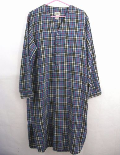 LL-Bean-Flannel-Night-Shirt-Men-Nightgown-Sleep-Plaid -Blue-Tartan-Medium-Cotton 4c2399981