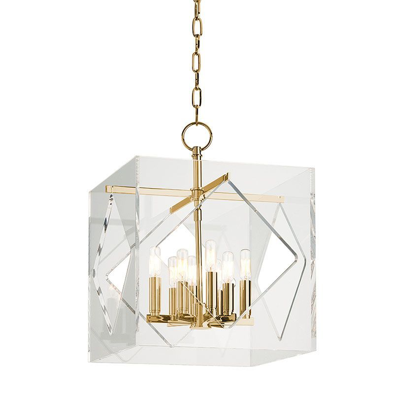 "Hudson Valley Lighting 5916 Travis 8 Light 16"" Foyer Pendant with Tungsten Filam Aged Brass Indoor Lighting Pendants"