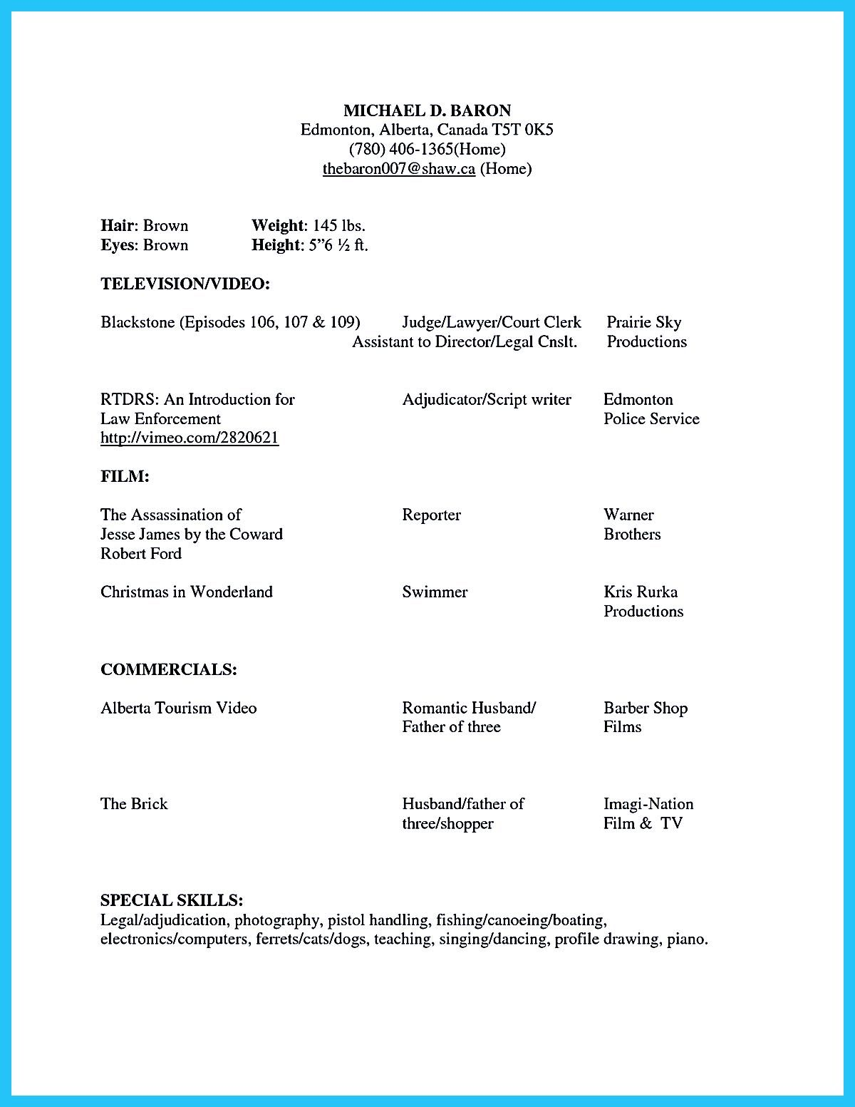 Brilliant Acting Resume Template To Get Inspired Acting Resume