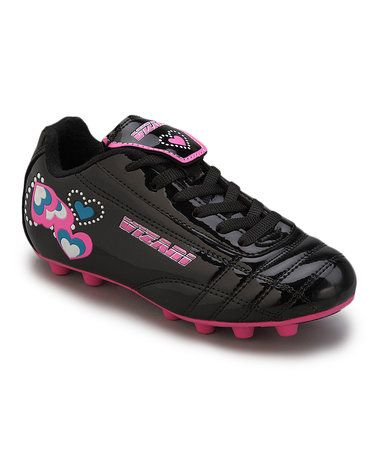 Another great find on #zulily! Black & Pink Retro Heart Cleat - Toddler & Girls #zulilyfinds