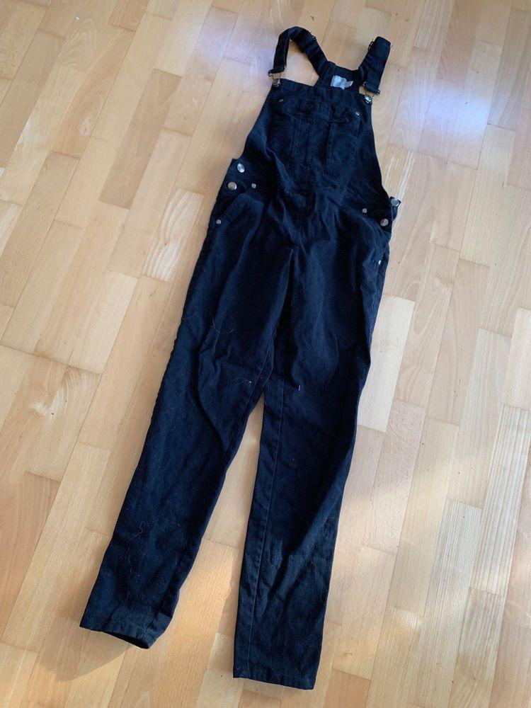 760dcb927ab2 ASOS Black Cotton Denim Dungarees Jumpsuit Size UK 6  fashion  clothing   shoes
