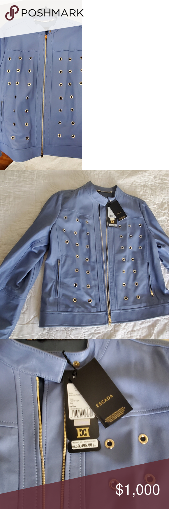 Luxury Nwt Escada Leather Jacket Periwinkle Xl Leather Jacket Jackets Periwinkle Color [ 1740 x 580 Pixel ]
