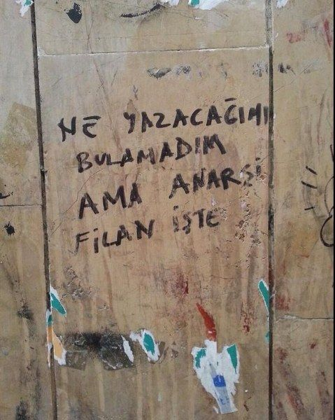 ne yazacagimi bulamadim ama anarsi filan iste. i could't fine what toe write but anarchy and so on. honest protestor.