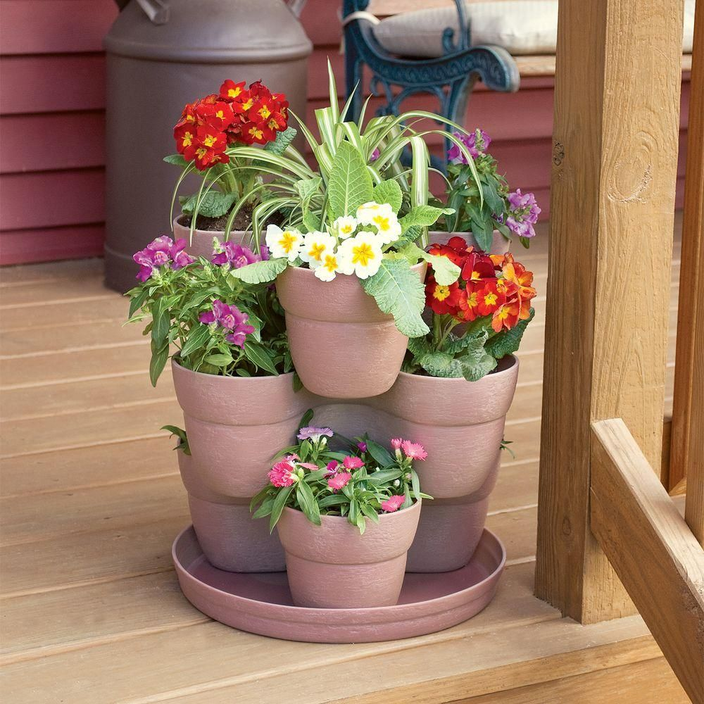 Emsco 13 In 3 Tier Resin Flower And Herb Vertical Gardening Planter In Sand 2380 1 The Home Depot In 2020 Flower Tower Flower Pots Outdoor Planting Flowers