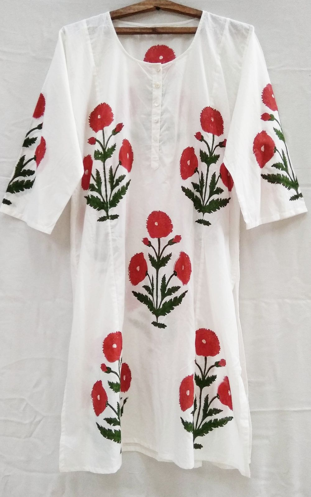 5a4d2c620aa Khadiwallah - Tomato Red Mughal style Poppy Floral Hand block print Indian  cotton Long Tunic Top