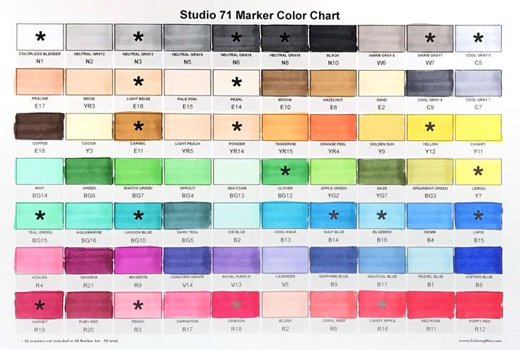 Studio 71 Markers Color Swatch Chart Brush Tip Markers For Art