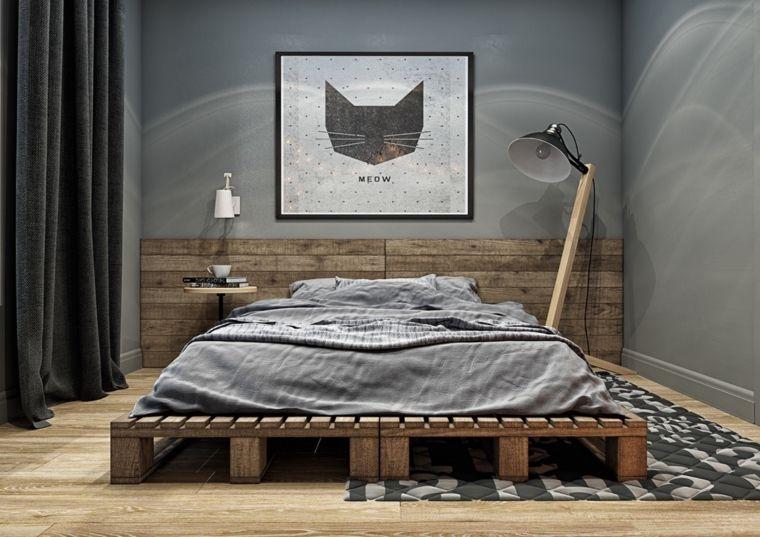 camera-da-letto-moderna-pallet-quadro-gatto-lampada-terra-tappeto ...
