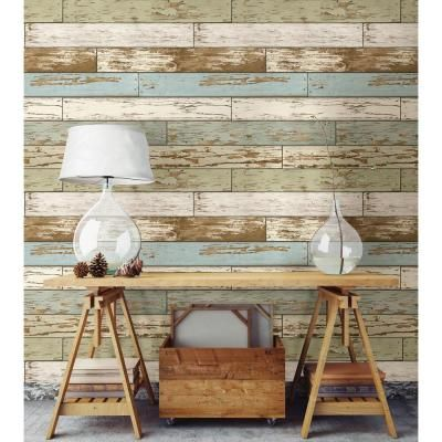 Nuwallpaper Old Salem Vintage Wood Peel And Stick Vinyl Strippable Wallpaper Covers 30 75 Sq Ft Nu2188 The Home Depot Wood Wall Design Stick On Wood Wall Wood Wallpaper