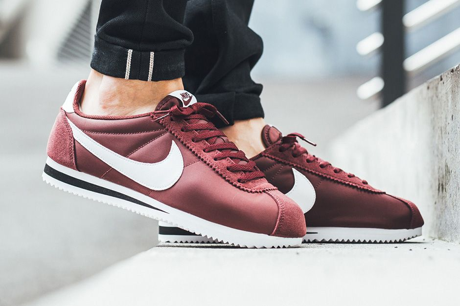 Nike S Iconic Cortez Now Comes In A Timeless Dark Team Red Colorway Nike Cortez Nike Classic Cortez Nike Cortez Black
