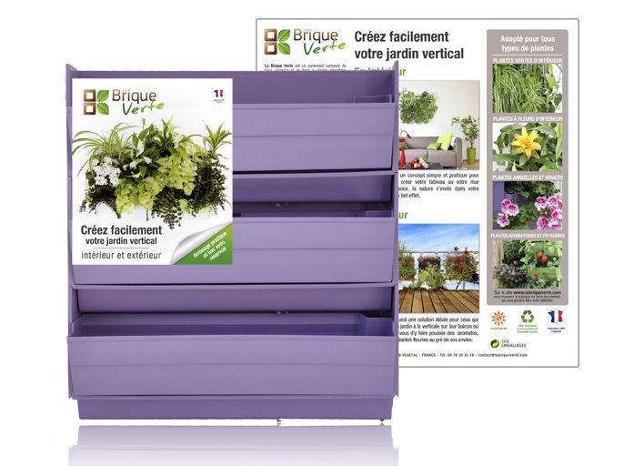Mur végétal BRIQUE VERTE parme sans plante Murs végétaux Pinterest