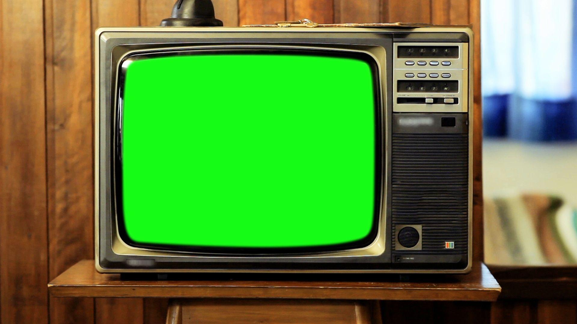 1980s Television Green Screen. Zoom In. Stock Footage,