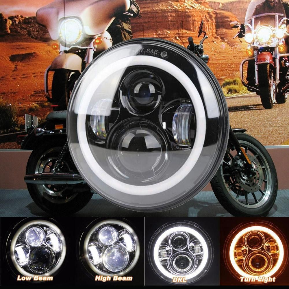 1pcs 7 Motorcycle Headlight Cree Led Turn Signal Light For Harley Cafe Racer Ebay Motors Parts Accesso With Images Motorcycle Headlight Cree Led Cafe Racer