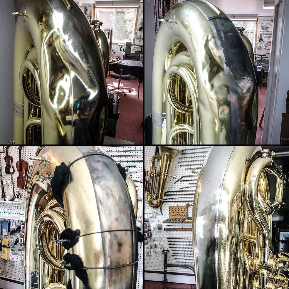 Débosselage du coude d'un Tuba à pistons rotatifs / Dent removal from a rotary valves tuba bow
